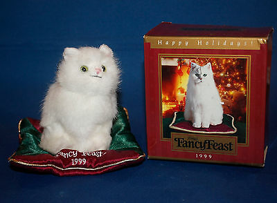 Fancy Feast 1999 Happy Holidays Ornament - Kitten on Maroon and Green Pillow