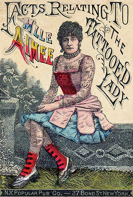 VINTAGE TATTOO ART PRINT Facts Relating to the Tattoed Lady Pub Ink Poster 11x14