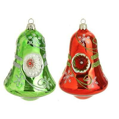 Bell Reflector Christmas Ornaments set of 2 red & green 6 in RAZ mm 3322919 NEW