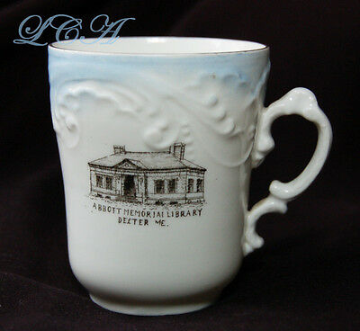 Antique ABBOTT MEMORIAL LIBRARY souvenir DEXTER MAINE Tea Cup