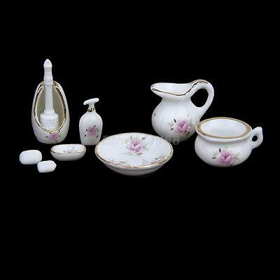 Dolls House Bathroom Accessory 8PCS Set Floral Ceramic Soap Dish Brush Basin Pot