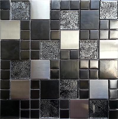 Metalic Random Mix Brushed Steel Black Hong Kong Glass Mosaic Tiles Sheet MT0002