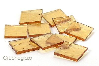 Amber Cathedral Rough Rolled Mosaic Glass Tile - Cut to Order Shapes - Med Pack