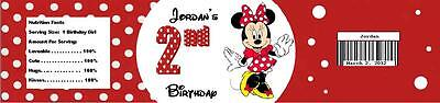 25 Red Minnie Mouse Birthday Party Water Bottle Label Favor Personalized