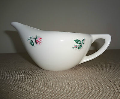 Knowles China Dinnerware Pink Rose & Leaf Pattern Small Gravy Boat U.S.A. 51-4