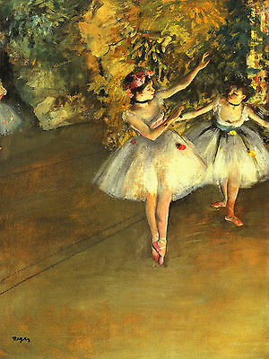 """Edgar Degas : Two Dancers On The Stage : 24"""" Impressionist Canvas Fine Art Print"""