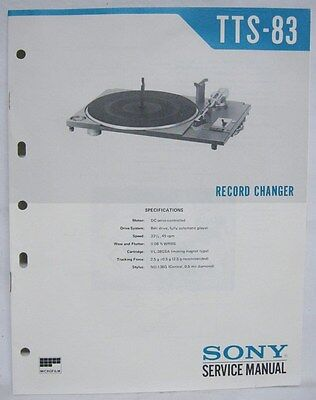 SONY Original SERVICE MANUAL TTS-83 Turntable RECORD CHANGER player