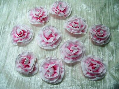"""Lot of 12 Pink Ombre Ribbon Flowers~Millinery~Ribbon Work~2 1/2"""" each"""