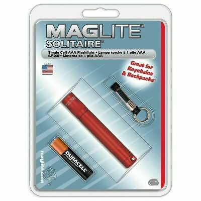 Maglite K3A036 Solitaire Red Single Cell AAA Flashlight w/ Battery & Key Lead