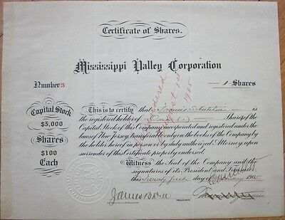 'Mississippi Valley Corporation' Number #3 1905 Railroad Stock Certificate - MS