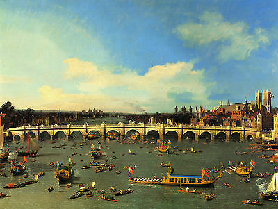 Canaletto : Westminster Bridge From The North On Lord Mayor's Day : Canvas Print