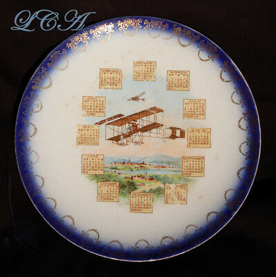 COLORFUL Warsaw Indiana 1913 calendar plate PIONEER AVIATION theme A.E. Carteaux