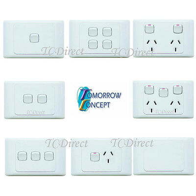 Single / Double, Wall 1 2 3 4 Gang Light Switch / Power Point Socket GPO