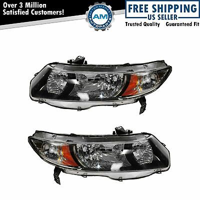 Headlight Headlamp LH Left & RH Right Pair Set for 10-11 Civic 2 Door Coupe