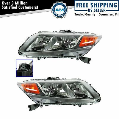Headlights Headlamps Left LH & Right RH Pair Set of 2 for 2012 Honda Civic