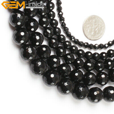 """Natural Stone Genuine Black Agate Onyx Gem Beads For Jewelry Making 15"""" Faceted"""