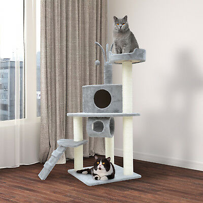 "PawHut 47"" Cat Scratch Tree House Furniture Scratching Post Condo Bed New"