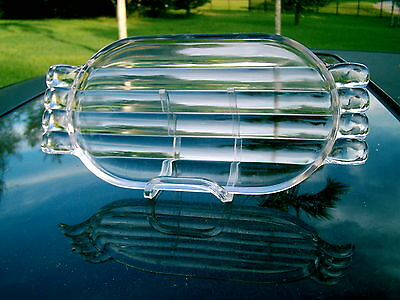 CLEAR GLASS BUBBLE HANDLES RIBBED Butter Under  Dish RECTANGULAR ROUND EDGES
