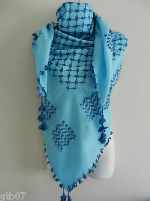 DK Blue Arab Shemagh Head Scarf Neck Wrap Authentic 100% Cottton Minor Defects