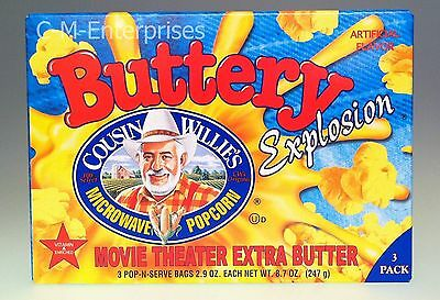Cousin Willie's Buttery Explosion Movie Theater Extra Butter Microwave Popcorn