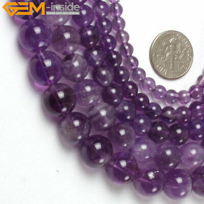 """Natural Gemstone Amethyst Stone Loose Beads For Jewelry Making 15"""" Light Purple"""