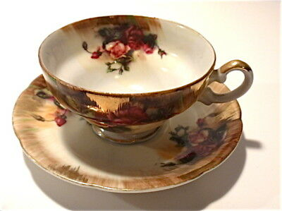 Vintage JAPAN Napco red rose cup saucer hand painted orig stickers