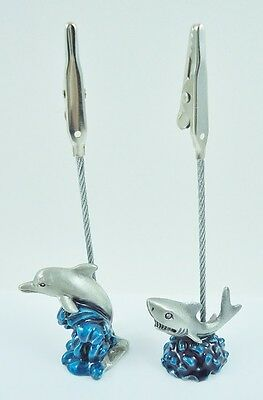 Two Pewter Dolphin and Shark Memo Clips Photo Holders  Desk Decor
