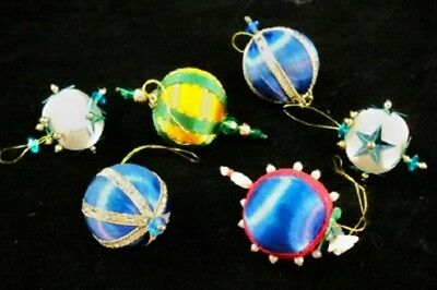 SIX Vintage Hand Made Miniature VICTORIAN STYLE Christmas Ornaments D11