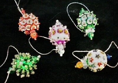 FIVE Vintage Hand Made Miniature VICTORIAN STYLE Christmas Ornaments D11
