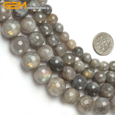 """Natural Stone Genuine Labradorite Gemstone Beads For Jewelry Making 15"""" Faceted"""
