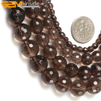 """Natural Gemstone Faceted Smoky Quartz Stone Loose Beads For Jewelry Making 15"""""""