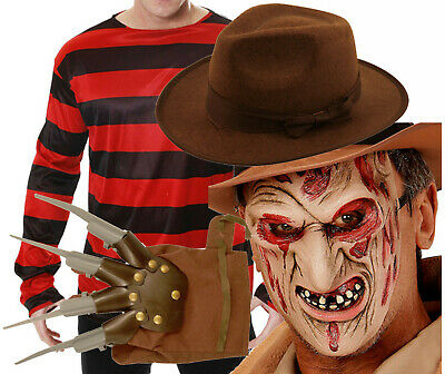 Freddy Krueger Halloween Fancy Dress Elm St Jumper Hat Burnt Face Mask Glove