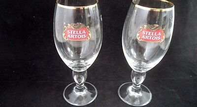 5 Stella Artois 33 CL Centiliter Beer Lager Clear Glass Gold Rim Chalice Glasses