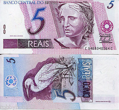 BRAZIL 5 Reals Banknote World Money UNC Currency South America BILL p244Ae Note