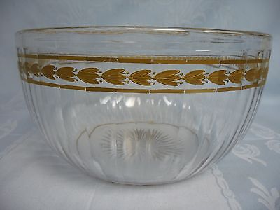 ANTIQUE (LATE 1800's) MOSER GILT BOHEMIAN SERVING BOWL - SIGNED