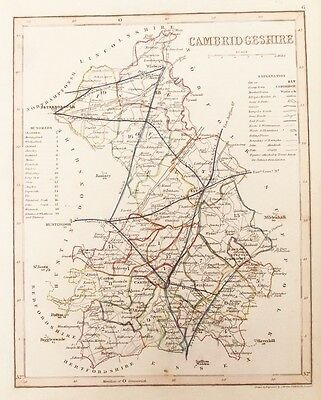 OLD ANTIQUE MAP CAMBRIDGESHIRE by J ARCHER c1840's 19th C ENGRAVING HAND COLOUR