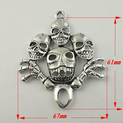 09952 Antiqued Silver Vintage Alloy Funny Halloween Skull Pendant Charms 3pcs