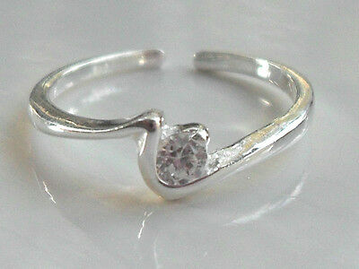 Sterling Silver (925) Adjustable Squiggle Toe Ring with Clear CZ Crystal