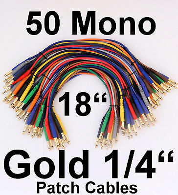 """50 Mono TS 18"""" Gold Patch Cables 1/4"""" Cords Unbalanced Leads"""