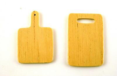 Dolls House Miniature Kitchen Accessory Pair of Wooden Chopping Boards