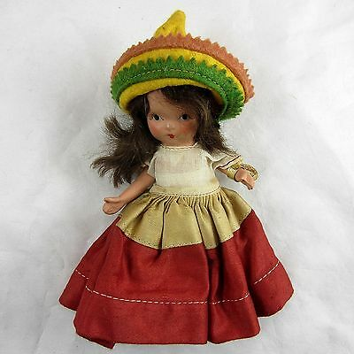 VINTAGE 1937-42 NANCY ANN DOLL Storybook Doll #39 Mexico/with Tag & Costume