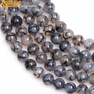 "Natural Stone Black Snake Skin Agate Gem Beads For Jewelry Making 15"" Wholesale"