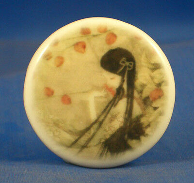 """1"""" Porcelain China Button --  Oriental Girl With Poppies"""