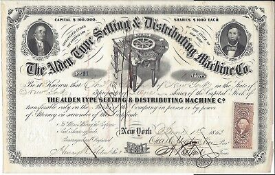 Stock Certificate, Alden Type Setting & Distributing Machine Co., 1863