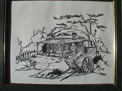 "Casey Australian Framed Charcoal ""jinker Cart Near Old Farmhouse"" C 1980"