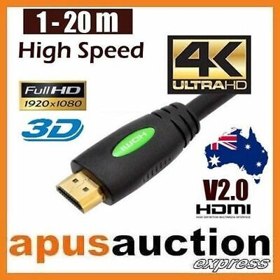 1m 1.5m 2m 3m 4m 5m 10m 15m 20m Premium HDMI Cable V2.0 3D HighSpeed 4K Ultra HD