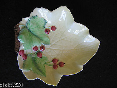 ART DECO CARLTON WARE RED CURRANT JAM/PRESERVE LEAF DISH #1656 c.30's