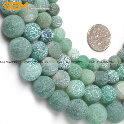 """Natural Stone Round Green Agate Beads For Jewelry Making 15"""" Matte Frost"""