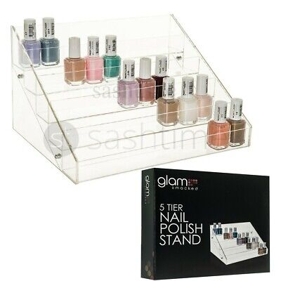5 Tier Nail Polish Acrylic Display Stand Holds Approx 50 Bottles High Quality
