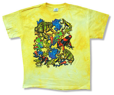 1344a0a4 MOUNTAIN FROGS KIDS Youth Yellow Tie Dye T Shirt New Official Animal Nature
